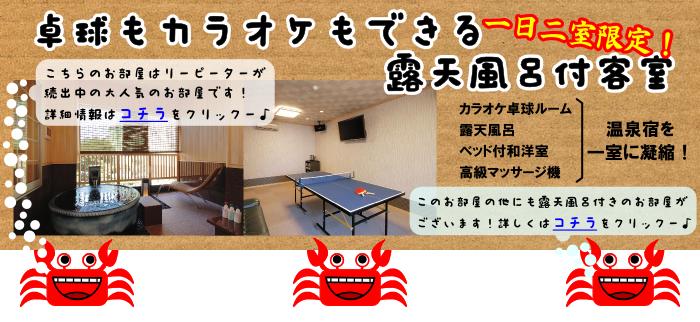 卓球もカラオケもできる露天風呂付き客室プラン
